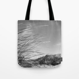 Monochromatic Sand dunes at Fistral Beach. Tote Bag