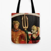 aquaman Tote Bags featuring Aquaman Goth(ic) by Beastie Toyz