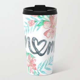 Mom Watercolor Floral Wreath Travel Mug