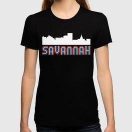 Red White Blue Savannah Georgia Skyline T-shirt