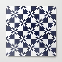 Navy blue and white stars pattern Metal Print