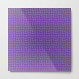 Purple Violet Grey Houndstooth Pattern Metal Print