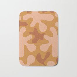 Clay Time Abstract Pattern in Rust and Blush Salmon on Mustard Ochre Bath Mat