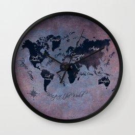 world map 141 red blue #worldmap #map Wall Clock