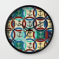 anchors Wall Clocks featuring anchors by Sharon Turner