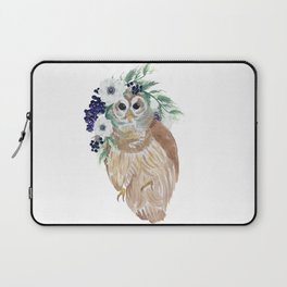 Owl with flower crown Laptop Sleeve