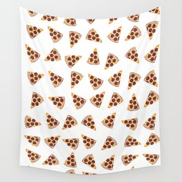 Pizza Slice White Wall Tapestry