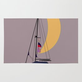 Boat in the middle of the night Rug