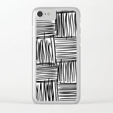 Modern Square Black on White Clear iPhone Case