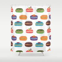macarons Shower Curtains featuring Sweet Macarons by haidishabrina