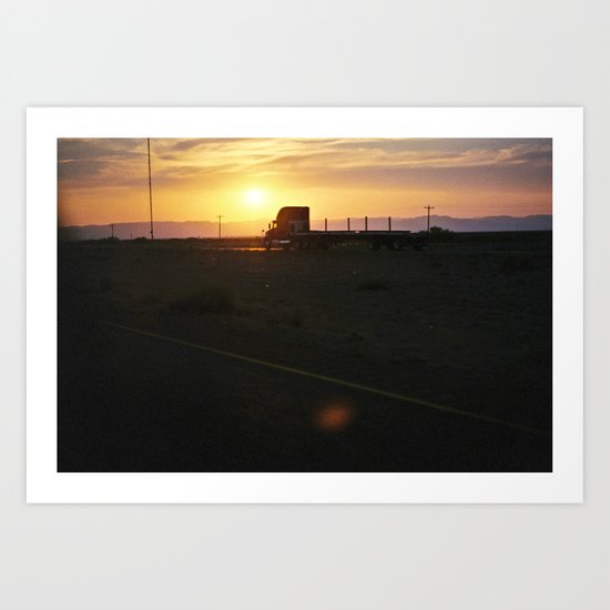Truckin' Sunset Art Print