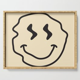 Wonky Smiley Face - Black and Cream Serving Tray
