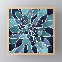 Festive, Flower Bloom, Navy Blue and Teal Framed Mini Art Print