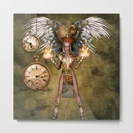 Steampunk lady with wings Metal Print