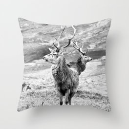 Stags - b/w Throw Pillow
