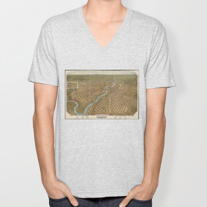 Vintage Pictorial Map of Spokane Washington (1905) Unisex V-Neck