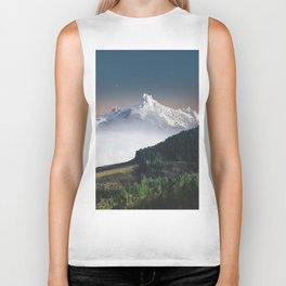 Fairytale Landscape Snow Capped Mountain Lush Green Forest Biker Tank