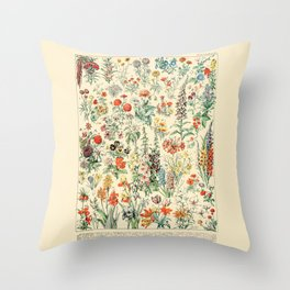 Wildflower Diagram // Fleurs II by Adolphe Millot 19th Century Artsy Floral Science Flower Artwork Throw Pillow