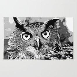 owl strix bird v2 vector art black white Rug