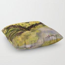 River Impressionism Landscape Painting Floor Pillow