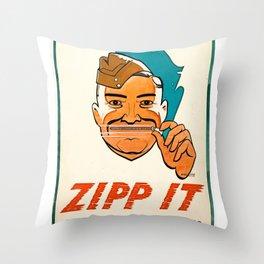 Anti-Rumour and Careless Talk Zipp It! Careless Talk Costs Lives Throw Pillow