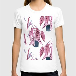 Simple Potted Polka Dot Begonia Plants in White + Rose T-shirt