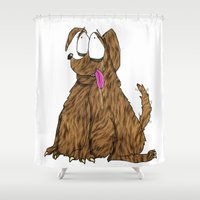 fat Shower Curtains featuring Fat Dog by Frances Roughton
