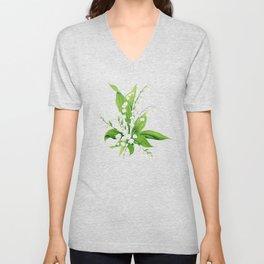 White Lilly Bouquet Unisex V-Neck