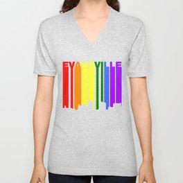Evansville Indiana Gay Pride Rainbow Skyline Unisex V-Neck