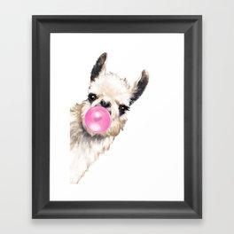 Bubble Gum Sneaky Llama Framed Art Print