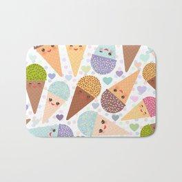Kawaii funny Ice cream waffle cone, with pink cheeks and winking eyes Bath Mat