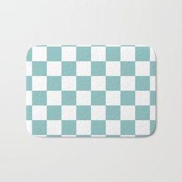 Chalky Blue Checkers Pattern Bath Mat