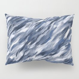 Blue + Gray brushstrokes Pillow Sham