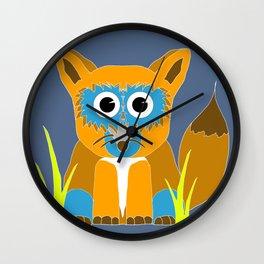 Blue Fox Wall Clock