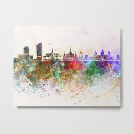 Phnom Penh skyline in watercolor Metal Print