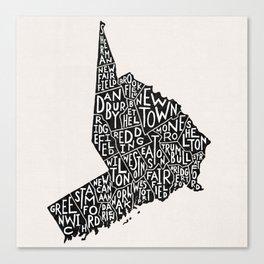 Fairfield County Map Canvas Print