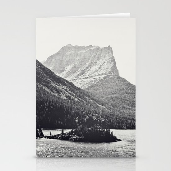 Glacier Mountain Lake Black and White Stationery Cards