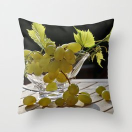 Grapes on the Table Throw Pillow