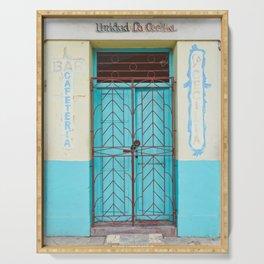 Havana Cuba Old Iron Door Colorful Latin America Caribbean Island Travel Art Print Turquoise Serving Tray