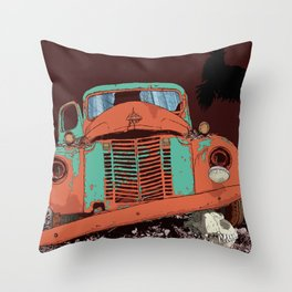 Art print: Old vintage car, the Raven and the Wolf skull Throw Pillow