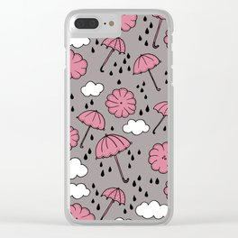 Blue umbrella sky rainy day abstract fall illustration pattern pink Clear iPhone Case
