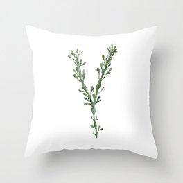 Green Seaweed Watercolor No. 3 Throw Pillow