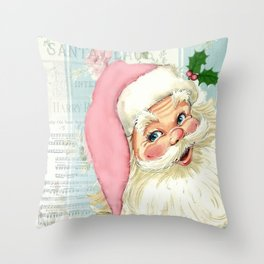 Retro Santa with music Throw Pillow