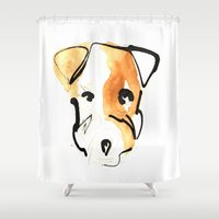 jack russell Shower Curtains featuring Jack Russell by Jen Moules