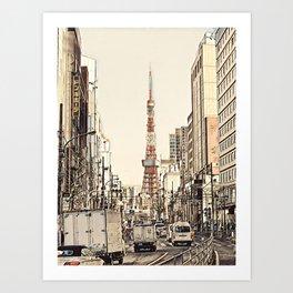 Tokyo Tower Seen from Gaien-Higashi-Dori - Beige Drawing Art Print