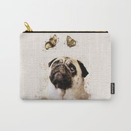 Pug and Butterfly Watercolor Carry-All Pouch