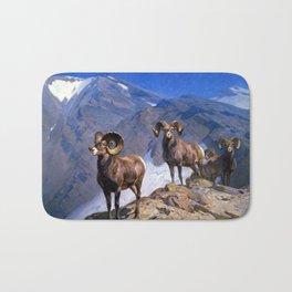 Carl Rungius Big Horn Sheep on Wilcox Pass Bath Mat