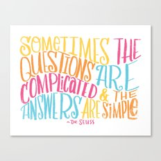 SIMPLE ANSWERS Canvas Print