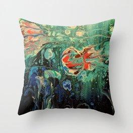 Fun Ocean Jellies with Blue Seaweed and Aqua Seafoam Throw Pillow