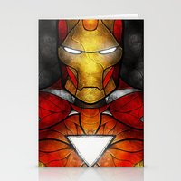 mandie manzano Stationery Cards featuring The Iron Man by Mandie Manzano